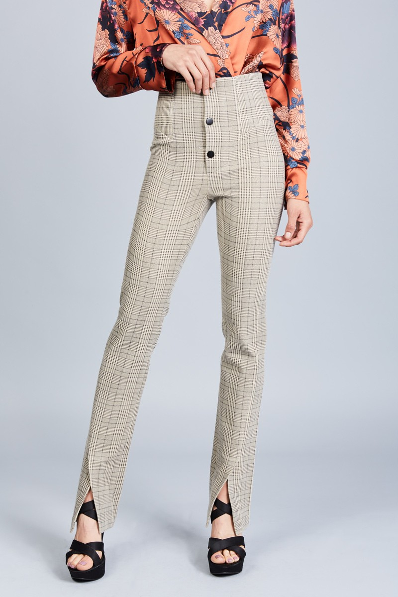 High Waist Plaid Trouser - orangeshine.com
