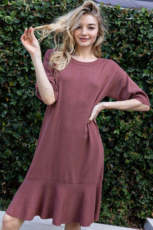 RUFFLED DROP WAIST PUFF SLEEVE DRESS - orangeshine.com