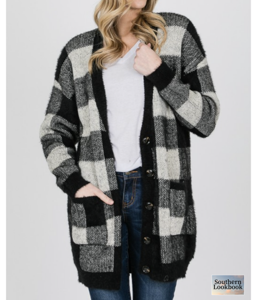 BIG PLAID BUTTON DOWN CARDIGAN - orangeshine.com