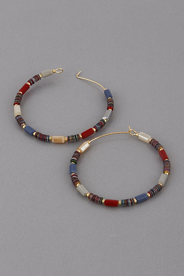 Varying Bead Hoop Earrings - orangeshine.com