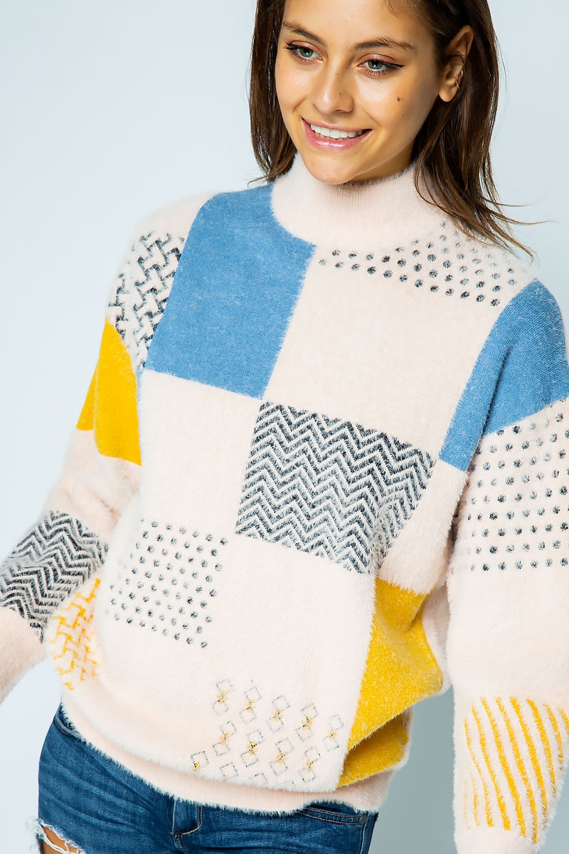 FURRY KNIT PATTERN BLOCK SWEATER - orangeshine.com