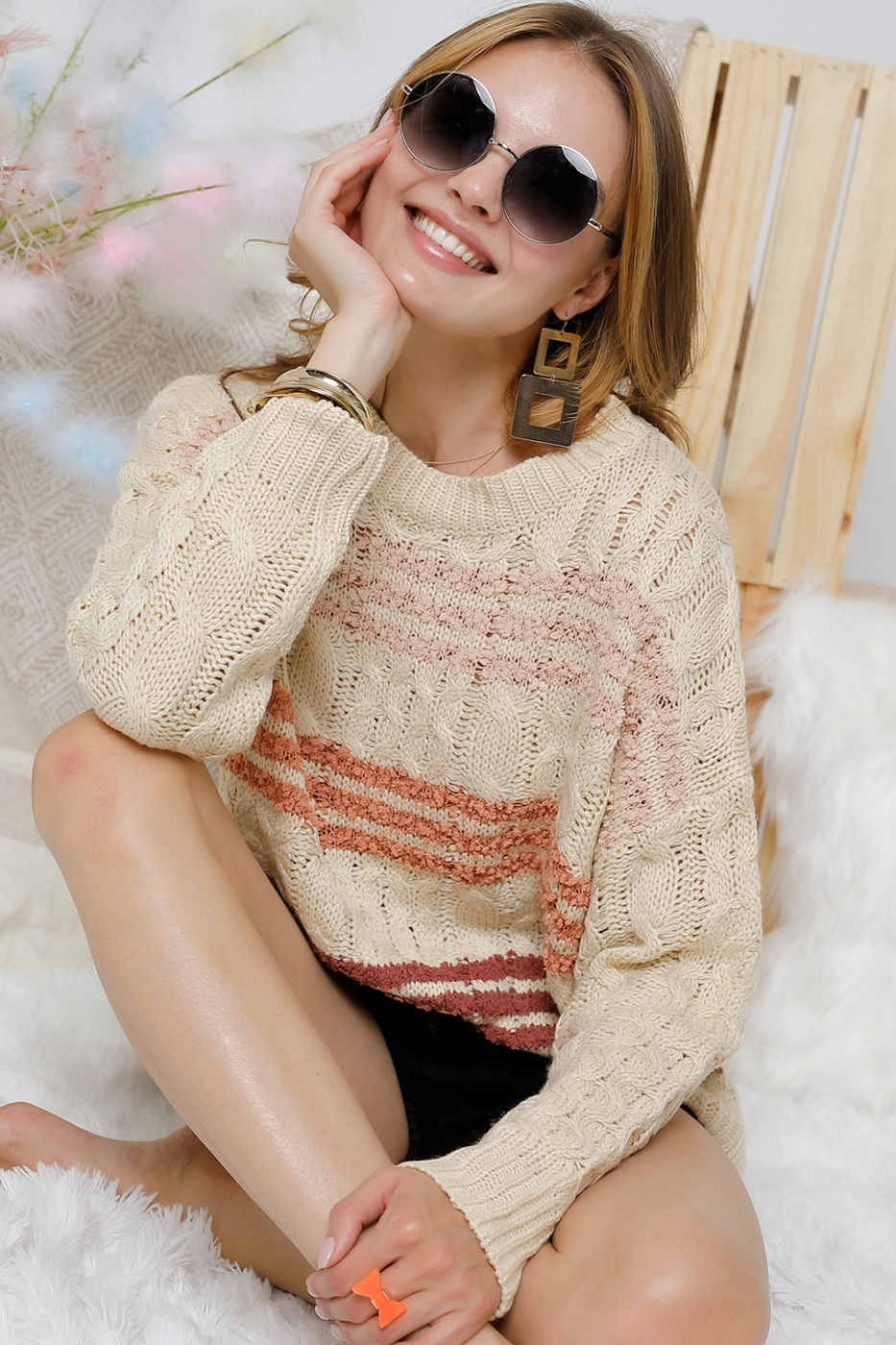 Striped long sleeve sweater knit - orangeshine.com