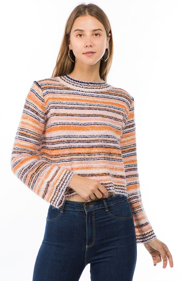 Round neck striped chunky sweater - orangeshine.com