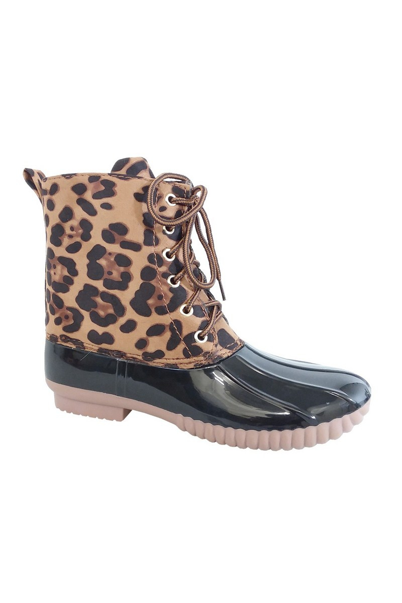 Two tone round toe lace up rain boot - orangeshine.com