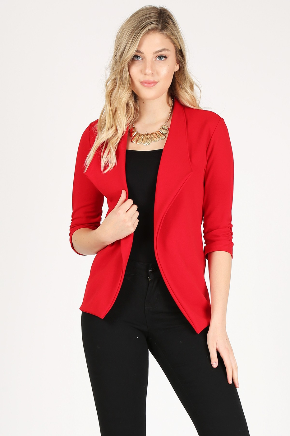 Solid fitted open blazer  - orangeshine.com
