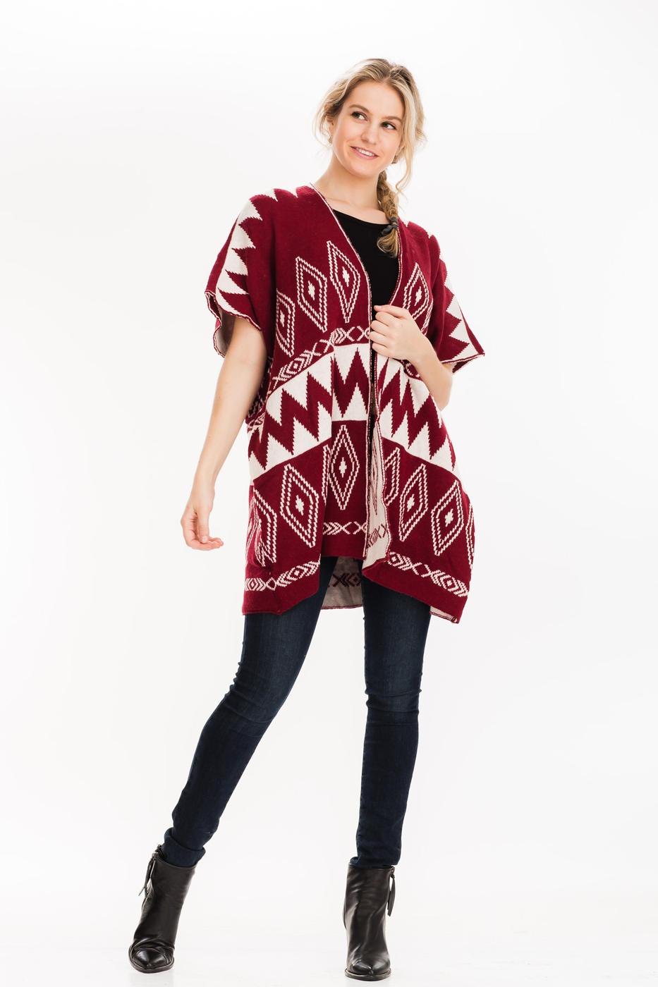 HEAVY KNIT TRIBAL PONCHO  - orangeshine.com