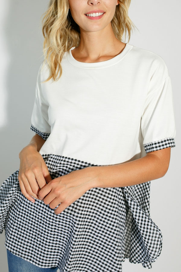 CHECKER AND SOLID SHORT SLEEVE TOP - orangeshine.com