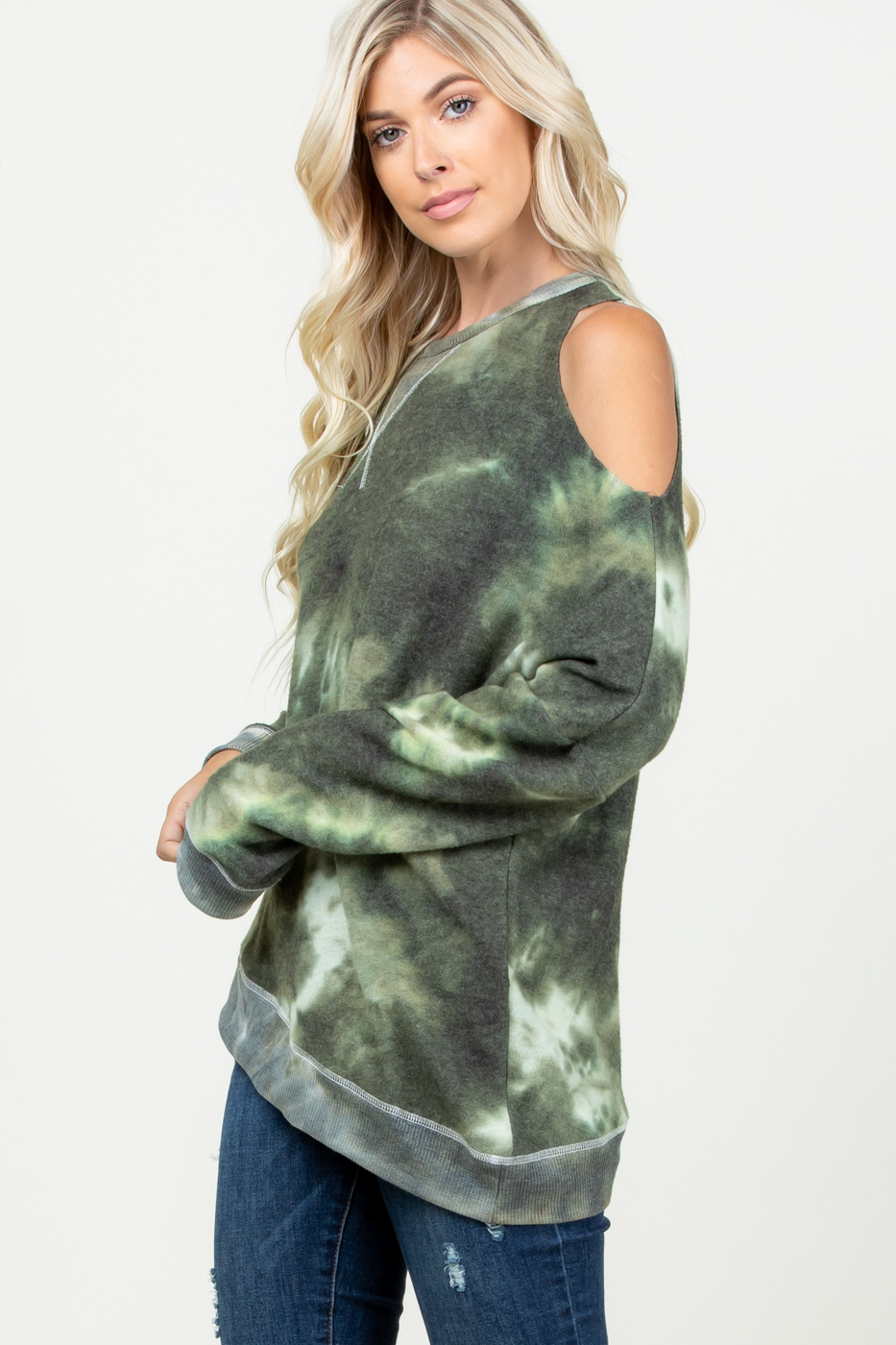 TIE DYE ONE SIDE COLD SHOULDER TOP - orangeshine.com
