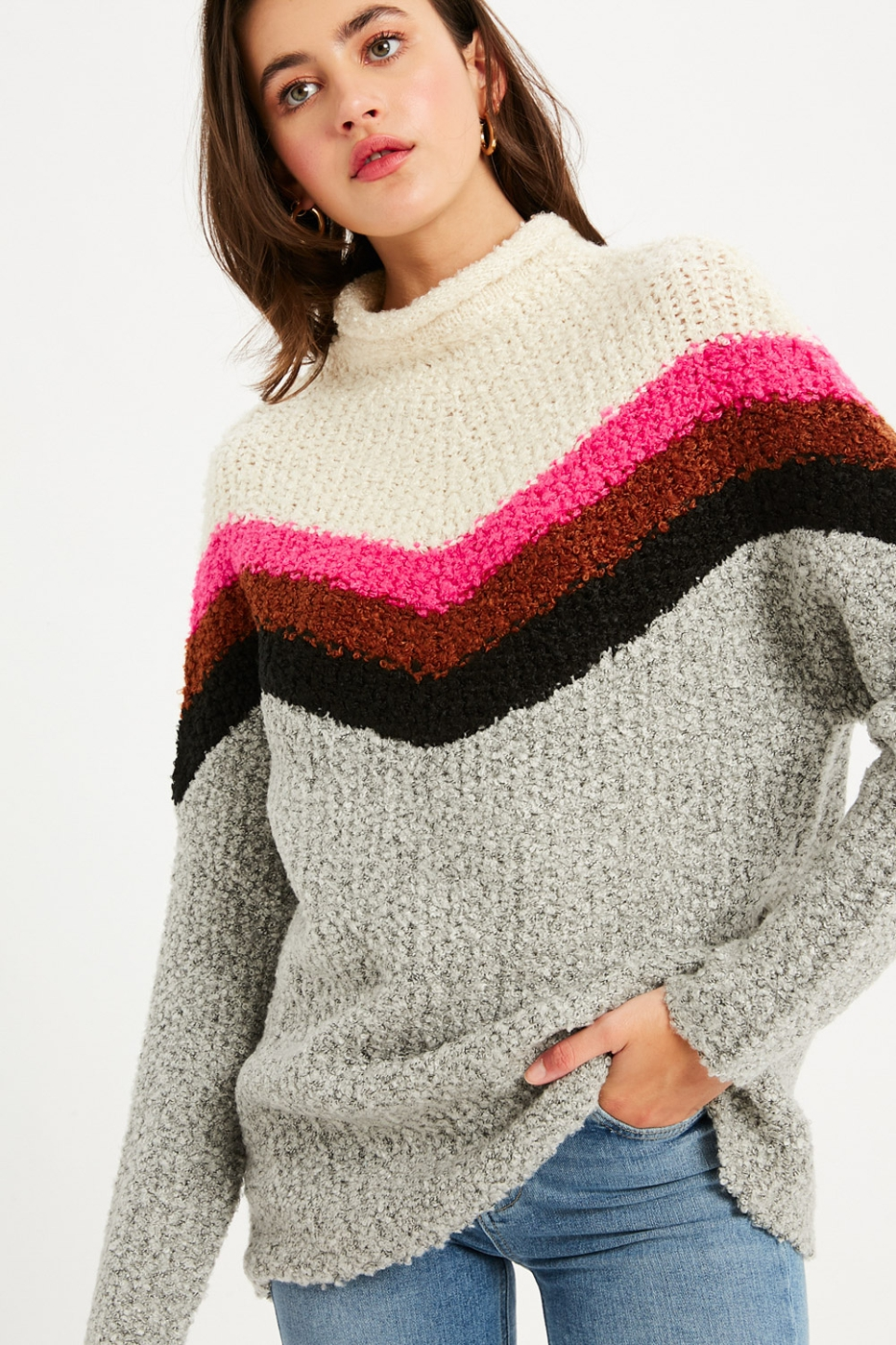 CHEVRON MOCK NECK PULLOVER - orangeshine.com
