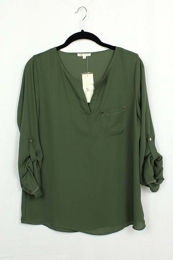 Solid V Neck Blouse - orangeshine.com