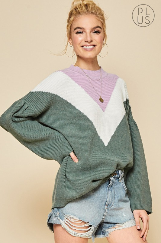 PLUS SIZE COLOR BLOCK SWEATER - orangeshine.com