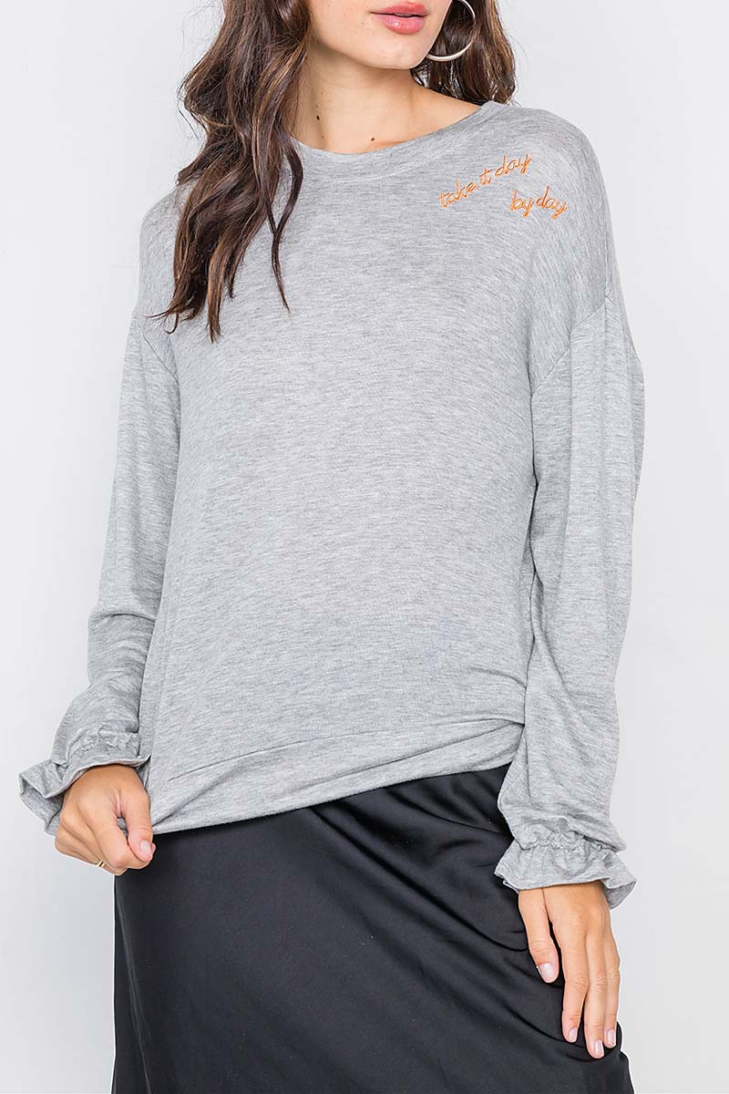 COZY FLOUNCE CUFF SWEATER - orangeshine.com