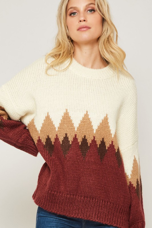 MULTICOLOR DIAMOND PATTERN SWEATER - orangeshine.com