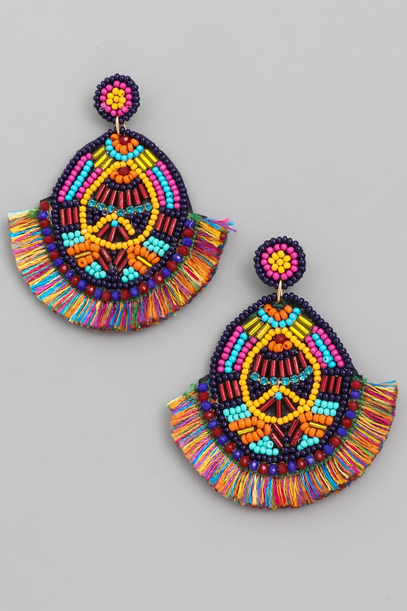 Circle Bead Fan Drop Earrings - orangeshine.com