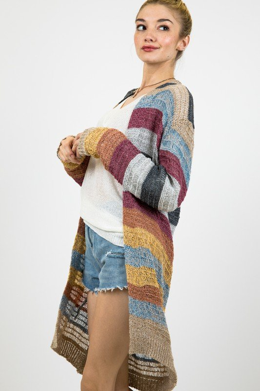 COLOR BLOCK LONGLINE CARDIGAN - orangeshine.com
