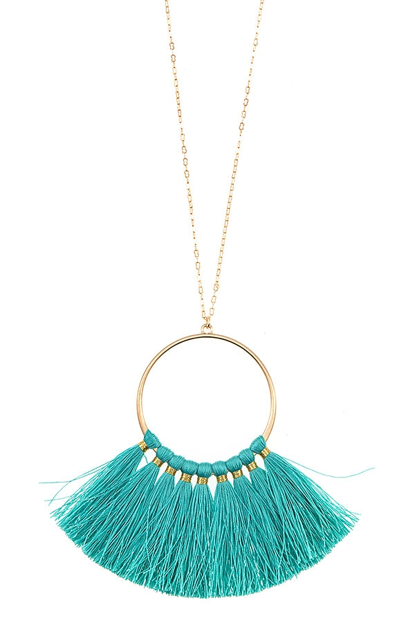 RING TASSEL PENDANT LONG NECKLACE SE - orangeshine.com