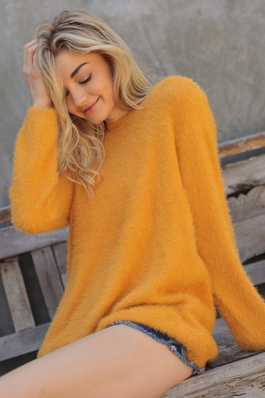 VEGAN ANGORA FUR SWEATER - orangeshine.com