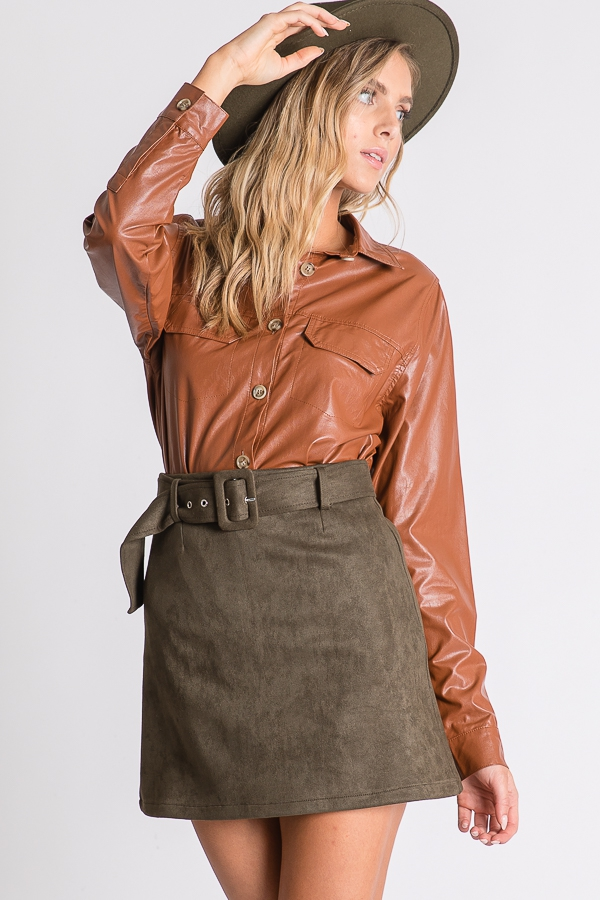 FAUX SUEDE BELTED SKIRTS  - orangeshine.com