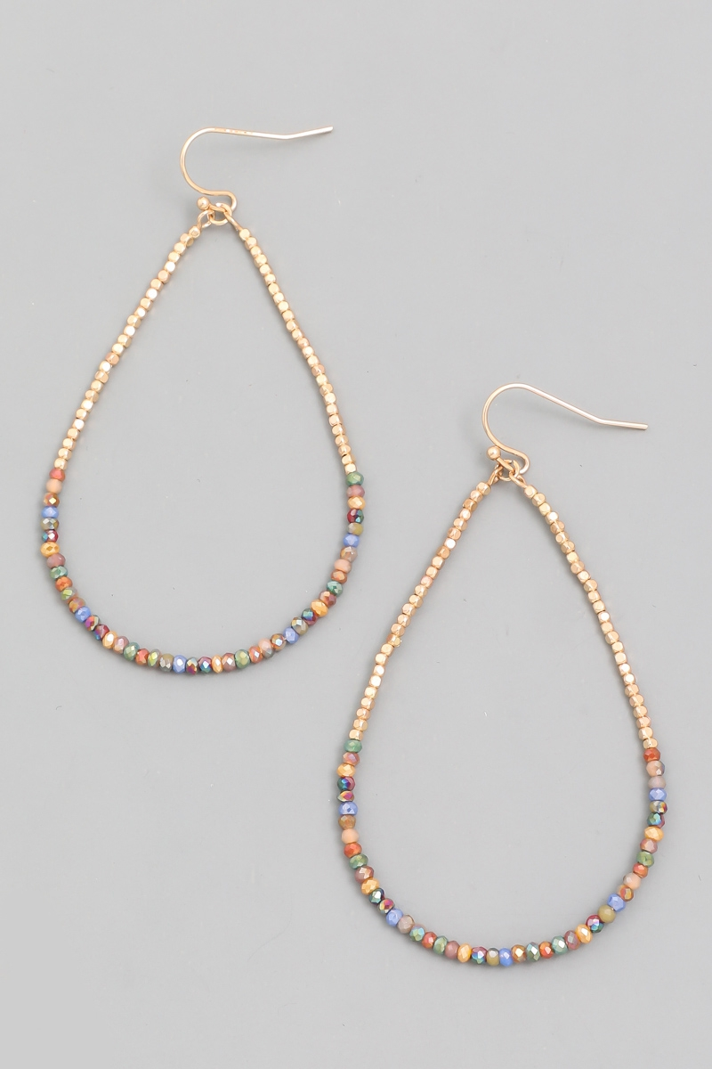 Beaded Hoop Teardrop Earrings - orangeshine.com