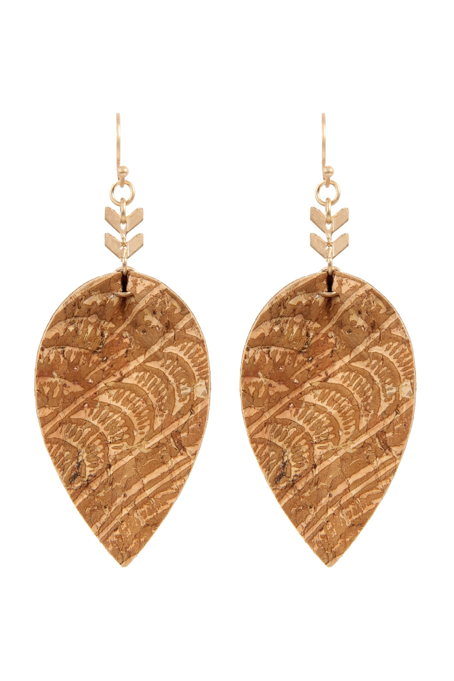 EMBELLISHED CORK LEATHER EARRINGS - orangeshine.com
