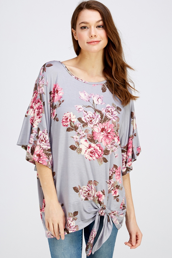 FLORAL RUFFLE SLEEVE TIE BOTTOM TOP - orangeshine.com