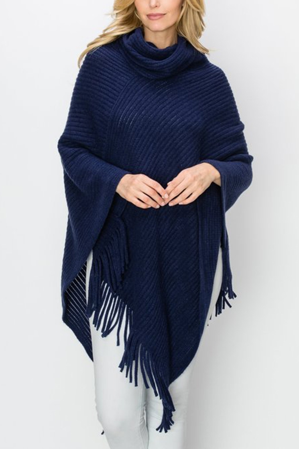 COWL NECK CROCHET KNIT PONCHO - orangeshine.com