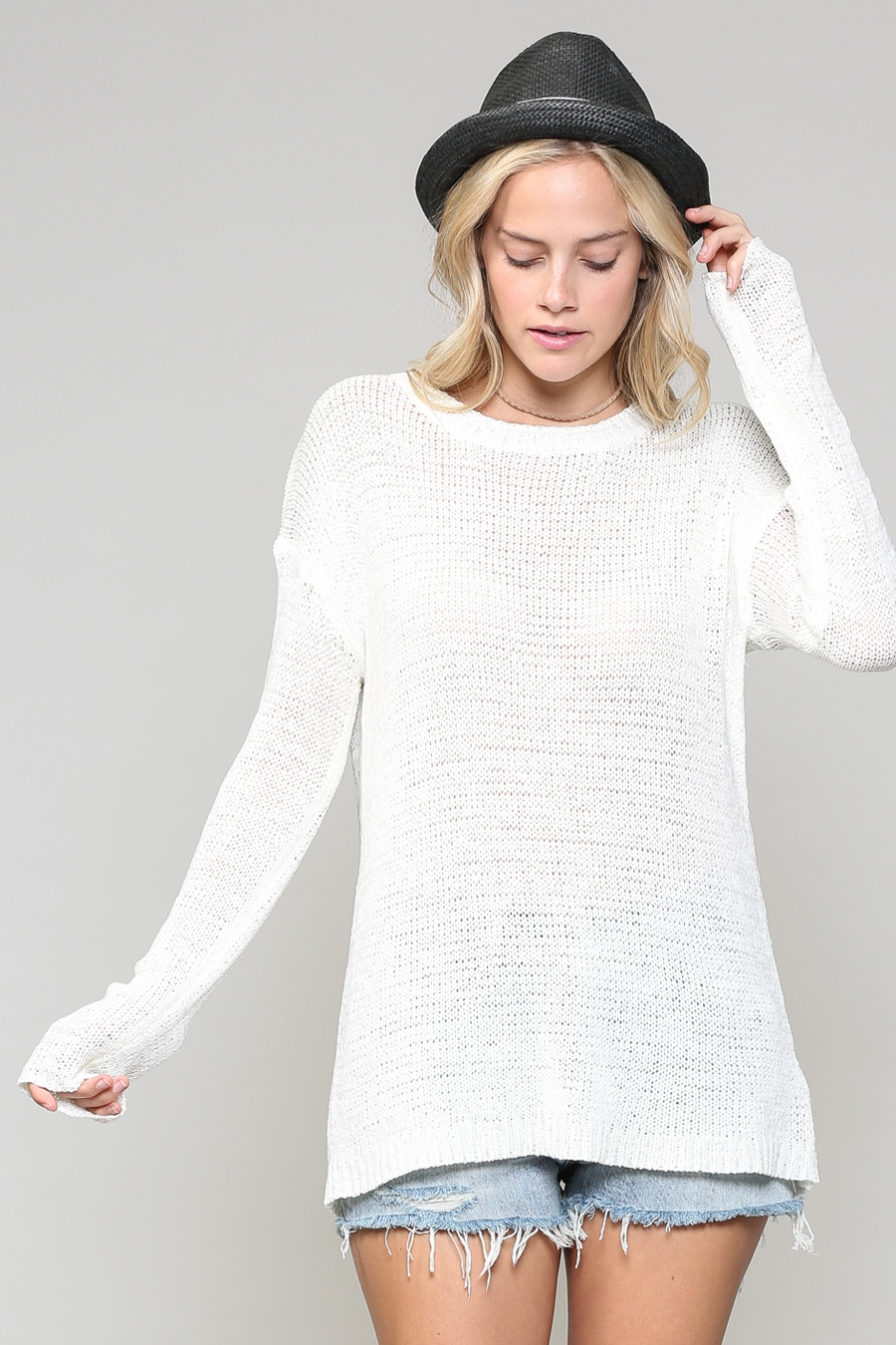 OPEN TWIST BACK SWEATER - orangeshine.com