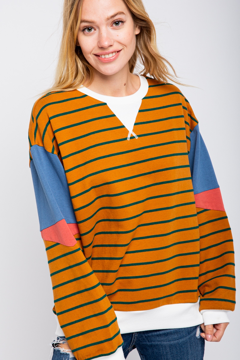 COLOR BLOCK PULLOVER SWEATER - orangeshine.com