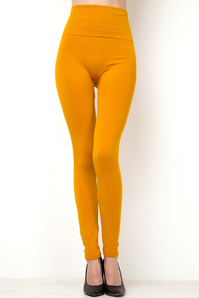 SOLID HIGH WAIST FLEECE LEGGINGS - orangeshine.com