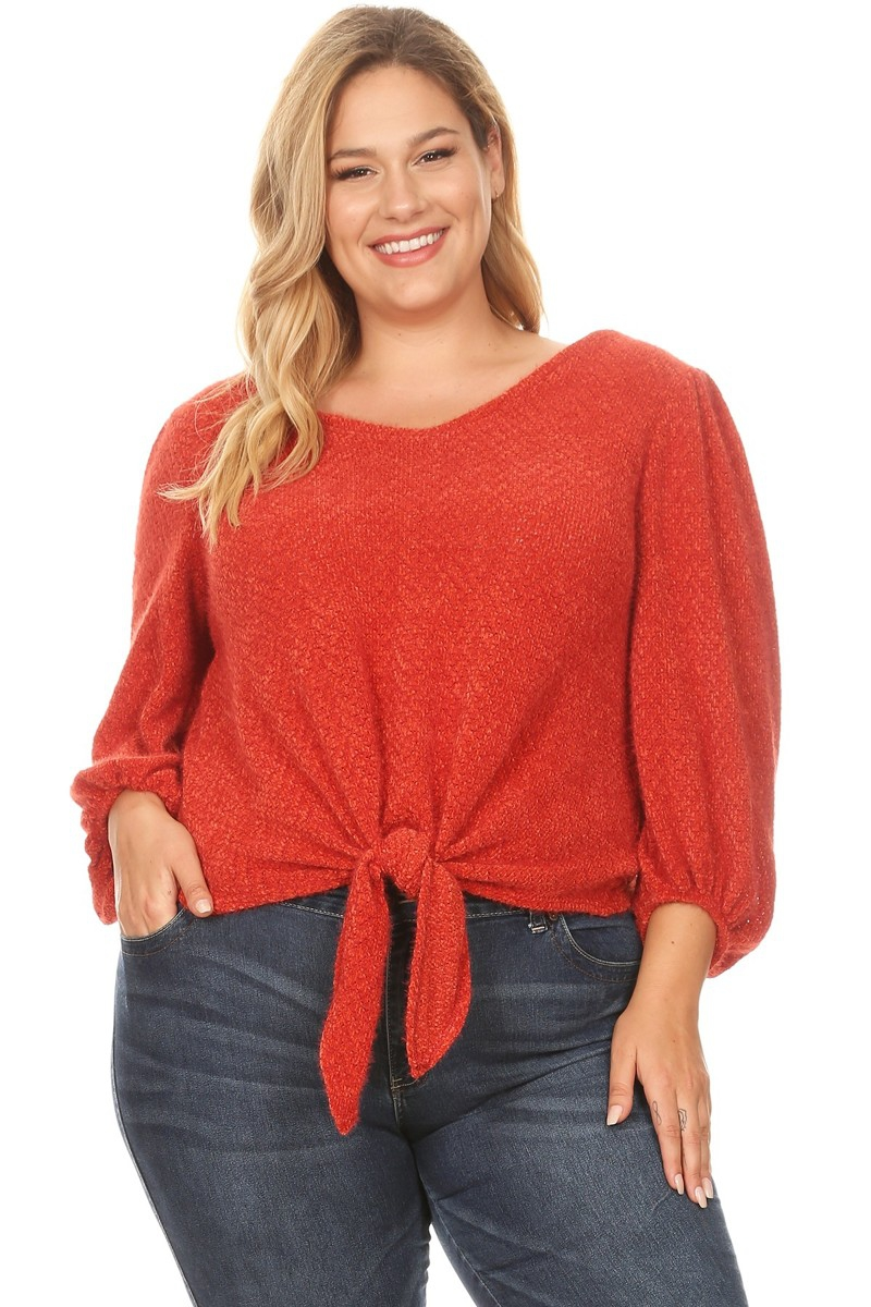 FRONT TIE V-NECK CROP TOP - orangeshine.com