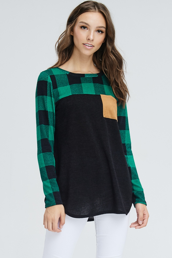 Plaid Sleeves Front Pocket Sweater - orangeshine.com