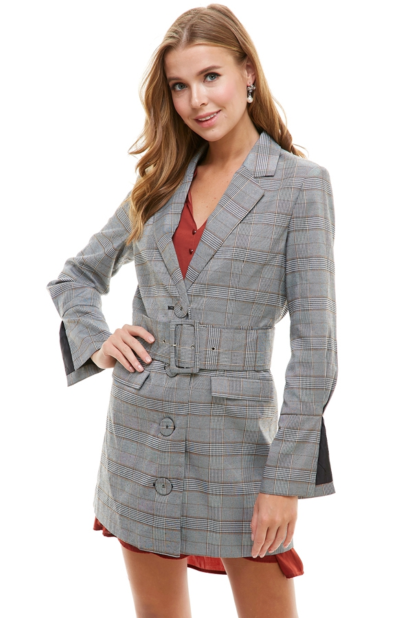 Multicolor Plaid Blazer - orangeshine.com