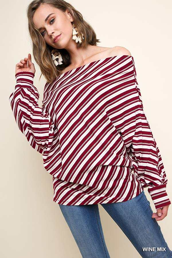 Striped Off Shoulder Dolman Top - orangeshine.com