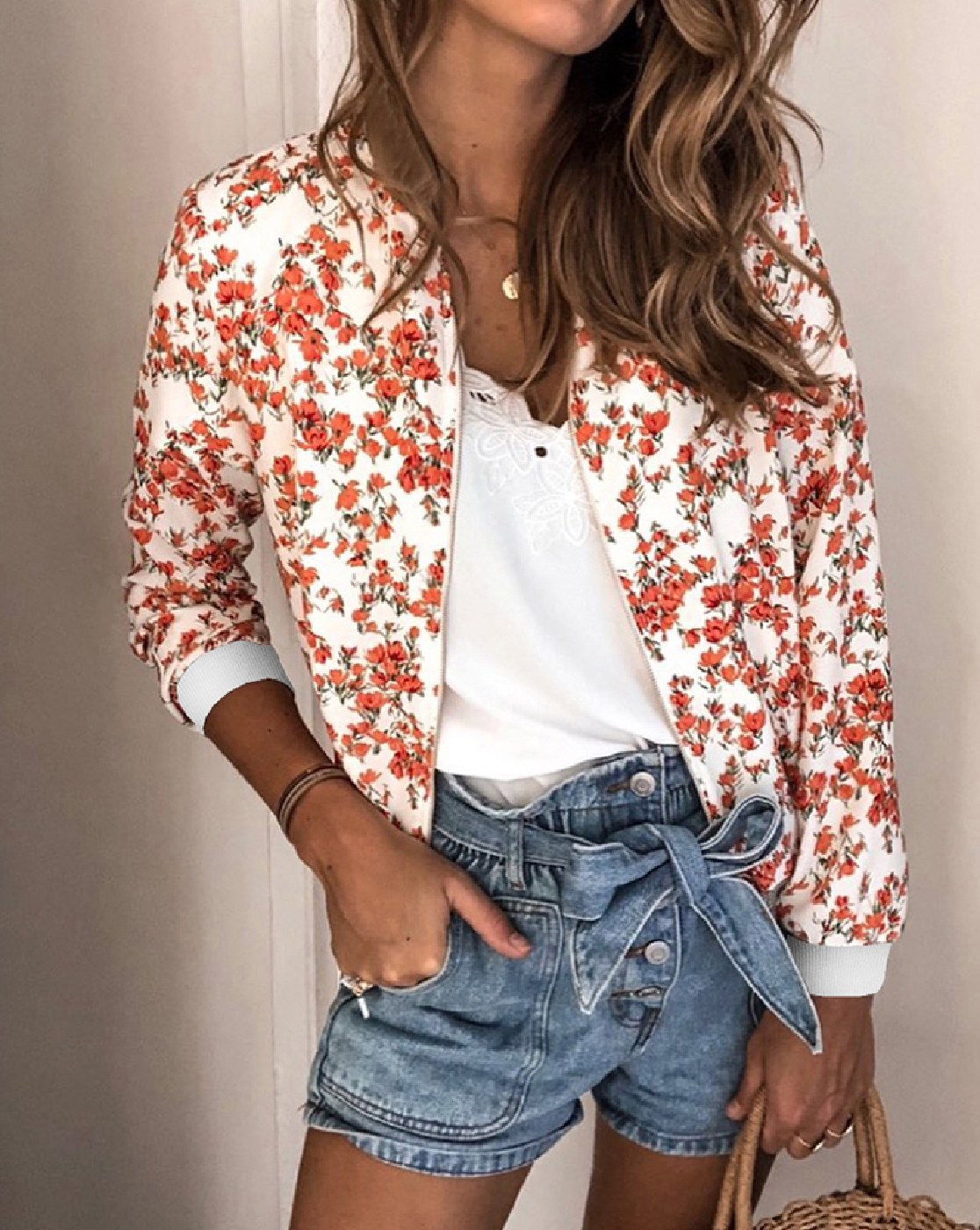 Floral Printed Zip Up  Bomber Jacket - orangeshine.com