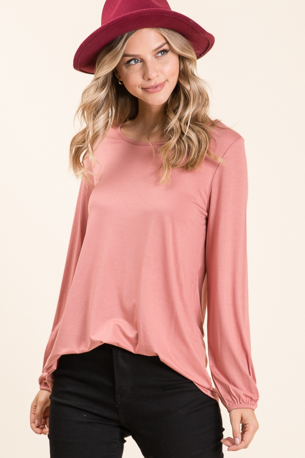 CASUAL SOLID LONG SLEEVE TOP  - orangeshine.com