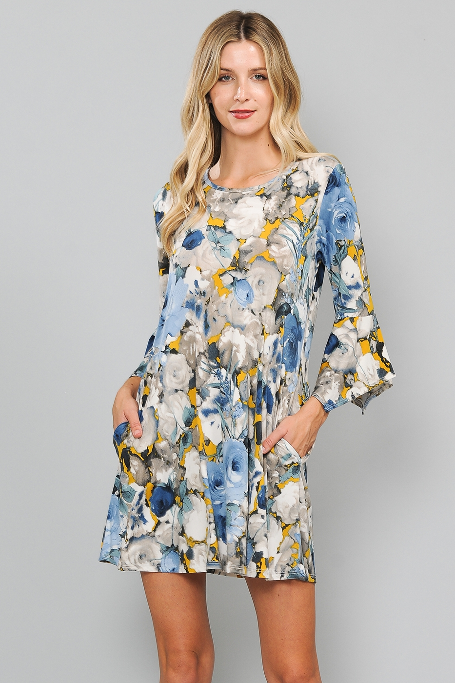 RUFFLE SLEEVE FLORAL PRINT DRESS  - orangeshine.com