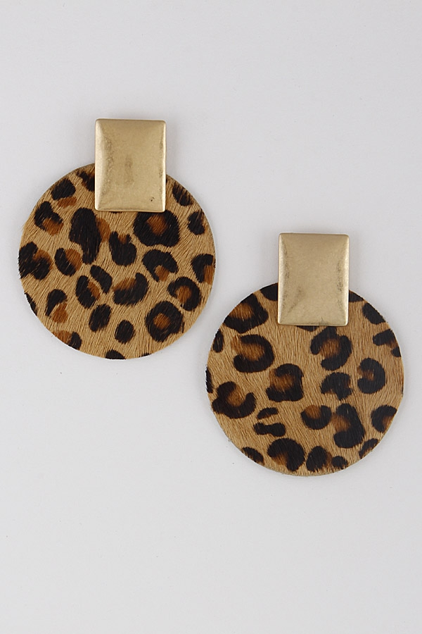 Circle Animal Print Earrings 9IAC2 - orangeshine.com