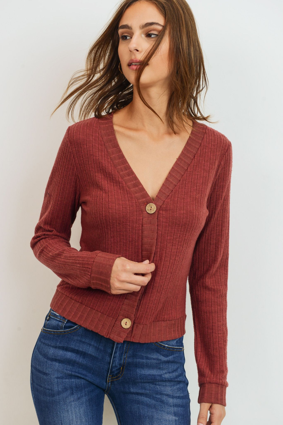 Brushed Ribbed Button Down Cardigan - orangeshine.com