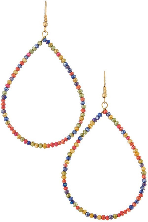 Glass beaded teardrop hoop earrings - orangeshine.com