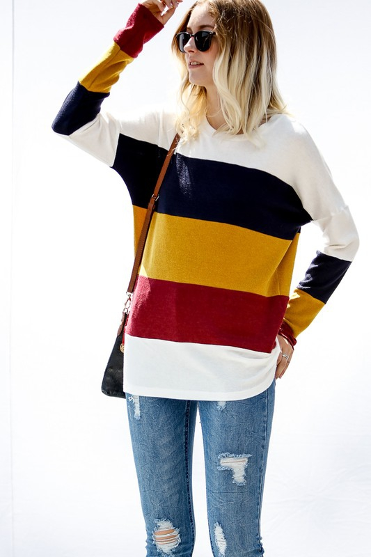 Colorblock long sleeve knit top - orangeshine.com