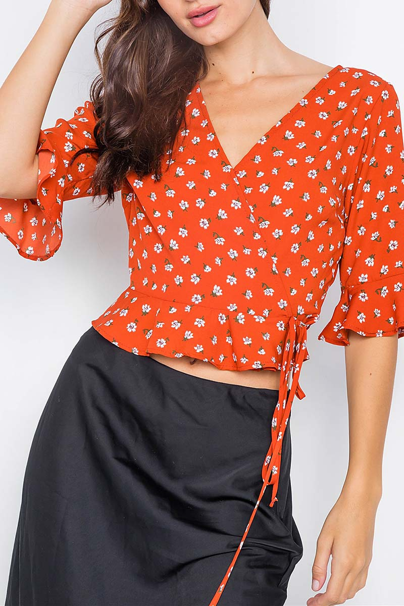 SATIN SURPLUS WRAP PEPLUM BLOUSE - orangeshine.com