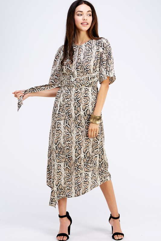 LEOPARD PRINT WITH RING-ACCENT DRESS - orangeshine.com