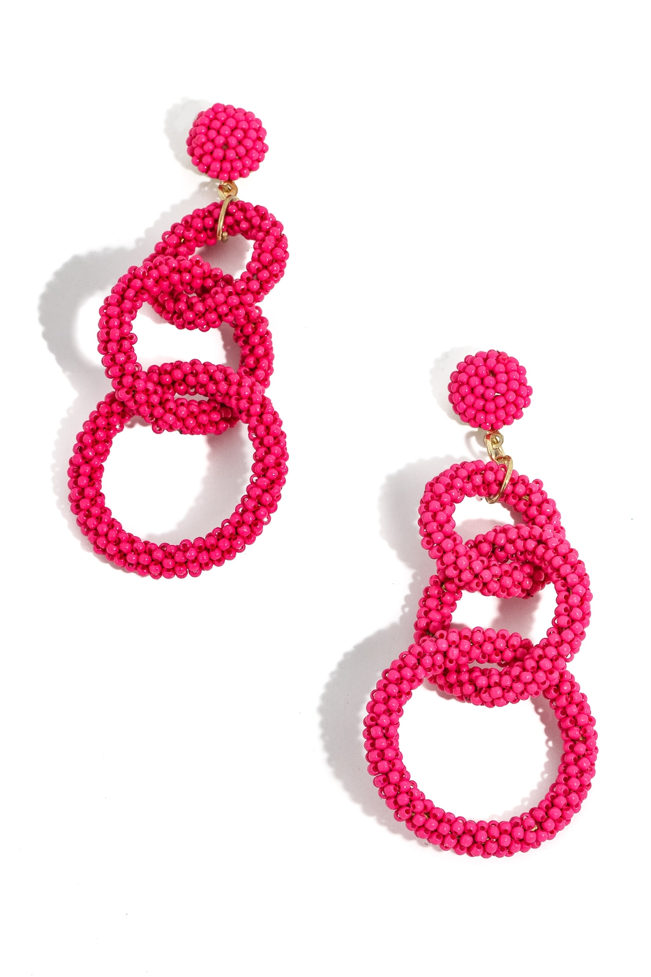 Tiered Beaded Ring Linked Earrings - orangeshine.com
