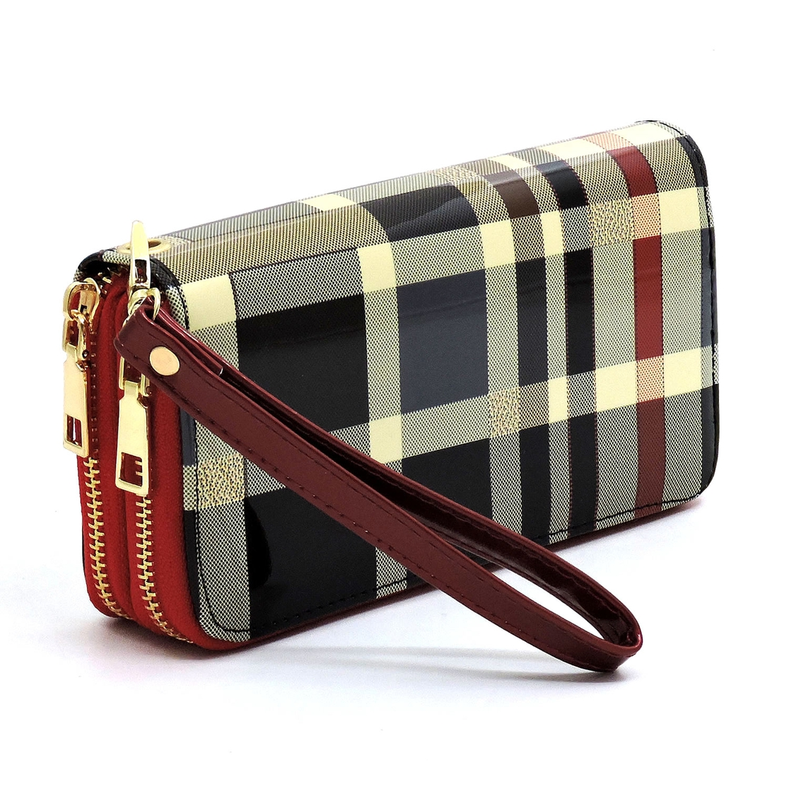 Glossy Plaid Check Double Zip Wallet - orangeshine.com