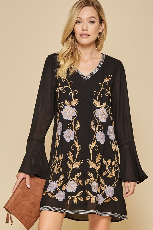 FLORAL EMBROIDERY DRESS - orangeshine.com