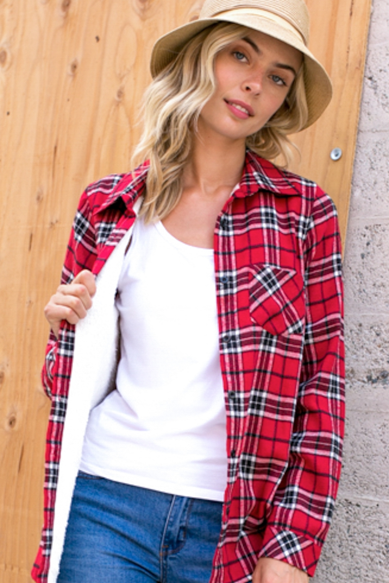 PLUS PLAID FLEECE LINED FLANNEL SHIR - orangeshine.com