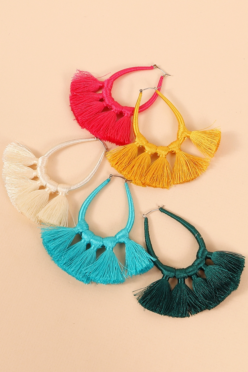 Thread Wrap Tassel Hoop Earrings - orangeshine.com