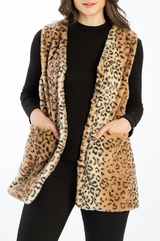 LEOPARD FAUX FUR VEST WITH POCKETS - orangeshine.com