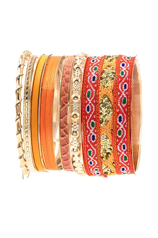 MIX RIBBON BANGLE BRACELET SET - orangeshine.com