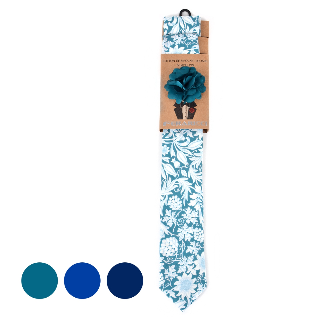 Men Floral Cotton Skinny Tie Set - orangeshine.com